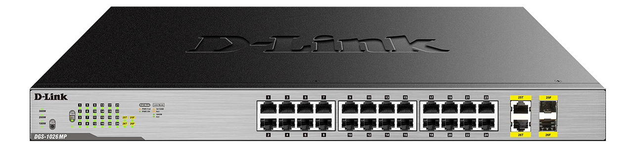 D-Link nätverksswitch, 24xRJ45, 2xSFP, Gigabit, PoE, 370W, grå