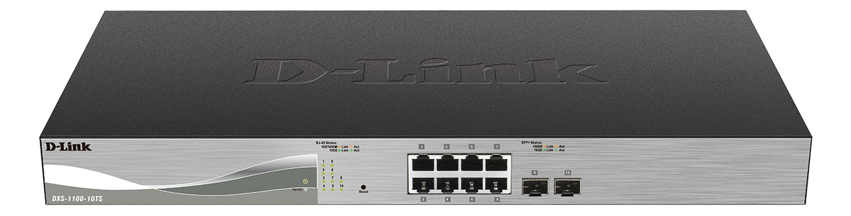 D-Link Smart nätverksswitch, 8xRJ45, 10GBase-T, 2xSFP+, 1U, svart/grå