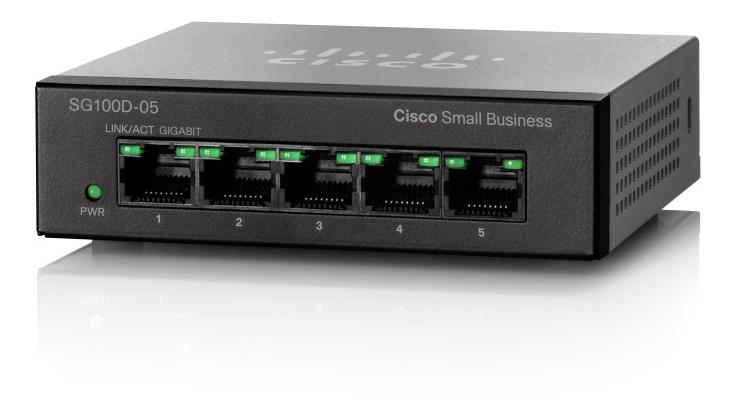 Cisco SG110D-05, Nätverksswitch med 5xRJ45, 10/100/1000Mbps, svart