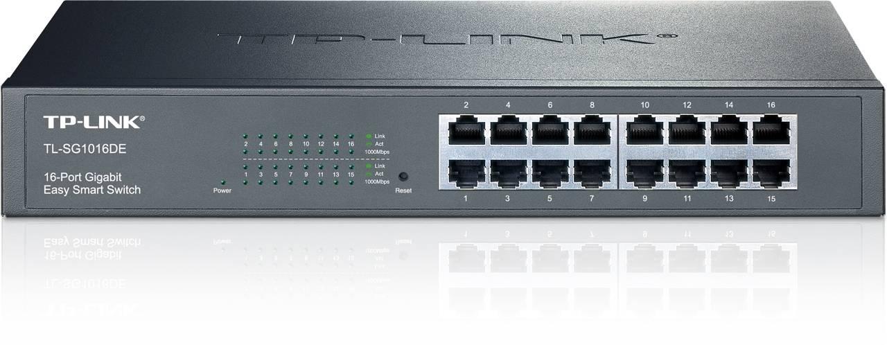 TP-LINK, nätverksswitch, 16-ports 10/100/1000Mbps, RJ45, svart