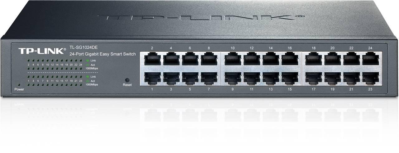 TP-LINK, nätverksswitch, 24-ports 10/100/1000Mbps, RJ45, svart
