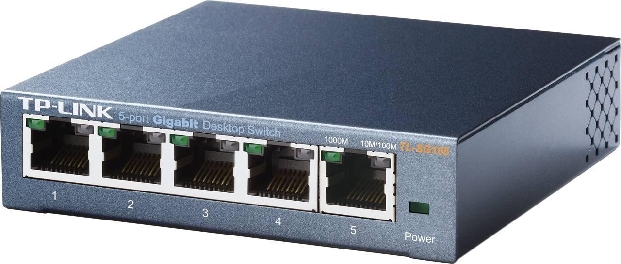 TP-LINK, nätverksswitch, 5-ports 10/100/1000Mbps, RJ45, metall