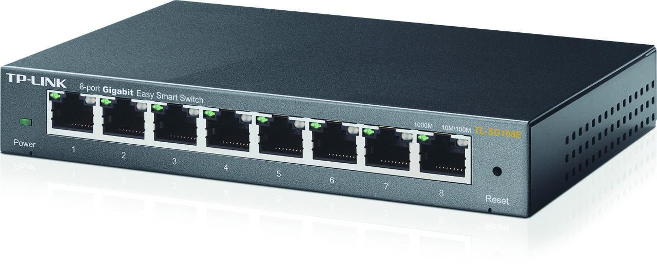 TP-LINK, nätverksswitch, Easy smart 8x10/100/1000Mbps, RJ45, metall