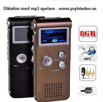 Diktafon med mp3 spelare och 8GB minne