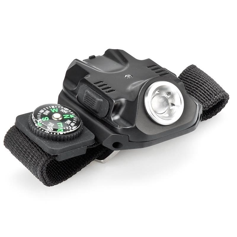LED vristlampa, vattentät med kompass