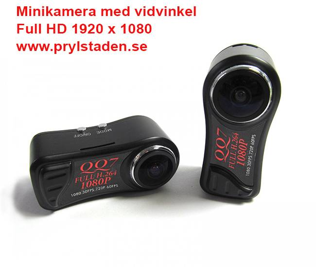 Minivideokamera med 185 graders vidvinkel och full HD, inkl. sugkoppsfäste