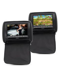 2x Nackstödsskärmar med DVD-spelare för bilbruk, USB, Fjärrkontroll, Högtalare