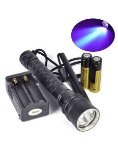 10W UV dyk ficklampa, 3000lm, 395-400nm, inkl. 2x 4000mAh bat. och laddare