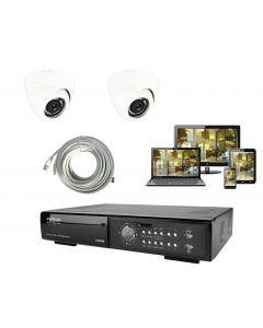 Analogt övervakningsystem med 2 kameror för inomhusbruk, 800tvlm 20m IR