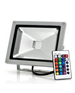 20W RGB LED-strålkastare, vattentät med fjärrkontroll