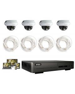 Full HD Övervakningspaket med 4st inomhus IP Kameror, POE, PUSH notifikationer, IR mörkersyn