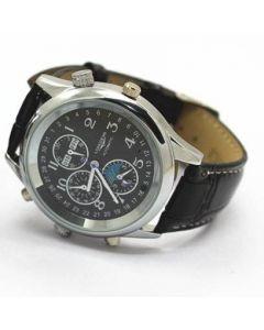 Spionkamera i klocka, 8 GB - silver/svart läderarmband med texturerad svart urtavla