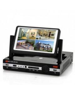 4-kanalig DVR med 7-tumsskärm, H.264, D1, HDMI-utgång