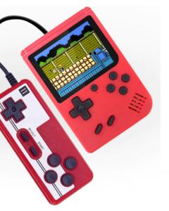 Retro Handhållen Spelkonsol, 400 spel, 1000mAH, Extra Handkontroll