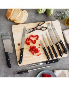 Knivset med slip och skärbräda (11 delar)