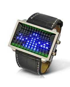 Blå LED klocka med 3D effekt och svart läderarmband