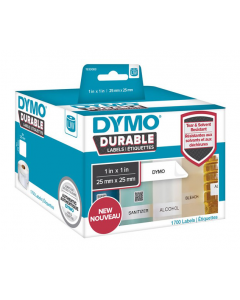 Dymo Durable multi-purpose label, 25x25mm, 1700 etiketter, vit