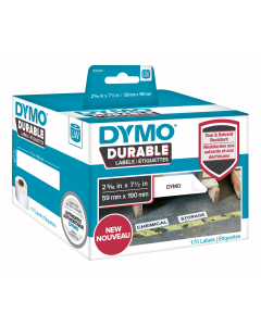 DYMO LW Durable large shelving 59mm x 190mm, 170 etiketter, vit