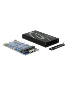 DeLOCK externt kabinett för mSATA SSD, SATA 6Gb/s, USB 3.0 micro b, sv