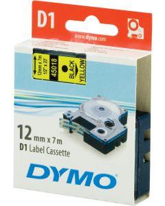 DYMO D1 märktejp standard 12mm, svart på gult, 7m rulle