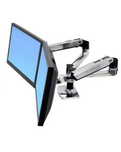 Ergotron LX Side-by-side Dual arm polished aluminium
