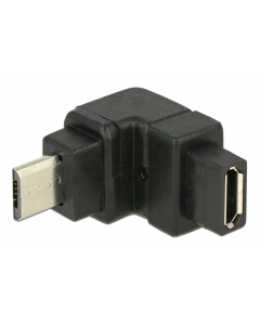 DeLOCK USB Typ Micro-B hane till Micro -B hona adapter, uppåt, svart