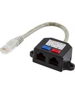 DELTACO Y-kabel RJ45 TP, UTP (oskärmad)