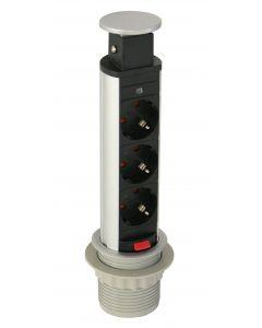 SmartLine PopUp  grenuttag,  3xCEE 7/4, 1,5m kabel, svart/silver