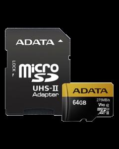 ADATA 64GB MicroSD UHS-II U3 CLASS10 w/SD adapter