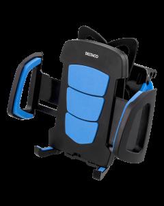 DELTACO Cykelhållare för smartphones, max 60-88mm, roterbar, svart/blå