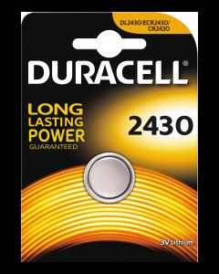 Duracell knappcellsbatteri, CR 2430, Lithium, 3V, 1-pack