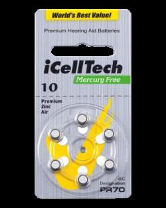 iCellTech 10 PR70 Zinc-Luft knappcellsbatteri, 1,45V, 6p-pack