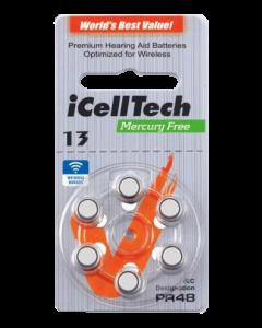 iCellTech 13 PR48  Zinc-Luft knappcellsbatteri 1,45V, 6-pack