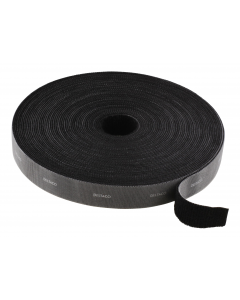 DELTACO kardborrband på rulle, bredd 20mm, 5m, svart