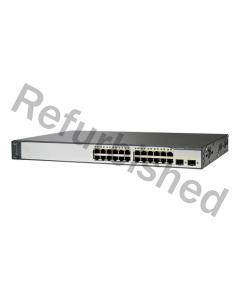 Cisco Catalyst 3750 v2 24-Port 10/100Mbps Switch, PoE,refurbished, grå