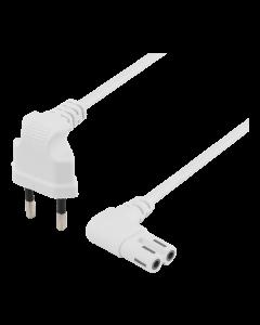 DELTACO ojordad apparatkabel, 0,5m, CEE 7/16 - IEC 60320 C7, vit