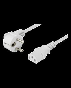 DELTACO apparatkabel, vinklad CEE 7/7 till IEC 60320 C13, 10m, vit