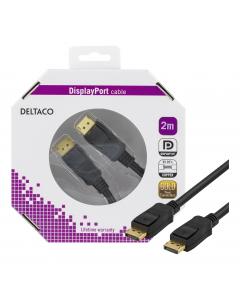 DELTACO DisplayPort monitorkabel, 20-pin ha - ha 2m, svart