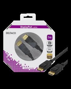DELTACO DisplayPort monitorkabel, 20-pin ha - ha 3m, svart