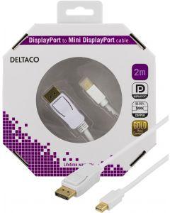DELTACO DisplayPort till Mini DisplayPort kabel, 20-p ha - ha, 2m, vit