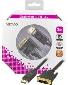 DELTACO DisplayPort till DVI monitorkabel, 20-pin ha - ha 3 m