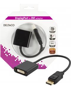 DELTACO DisplayPort till DVI-D singlelink adapter, 0,2m, ha-ho, svart