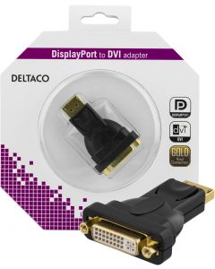DELTACO DisplayPort till DVI-I Single Link adapter, ha-ho, svart