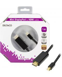 DELTACO mini DisplayPort till HDMI kabel med ljud, ha-ha, 1m, svart