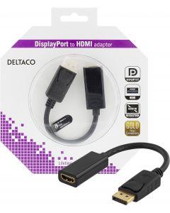 DELTACO DisplayPort till HDMI-adapter med ljud, 4K, 0,2m, svart