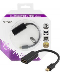 DELTACO mini DisplayPort till HDMI adapter, 4K, 0,2m, svart
