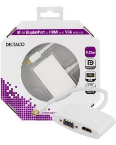 DELTACO mini DisplayPort till HDMI och VGA-adapter, 0,25m, vit