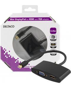 DELTACO mini DisplayPort till HDMI och VGA-adapter, 0,25m, svart