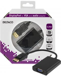 DELTACO DisplayPort till VGA-adapter med ljud, 0,25m, svart
