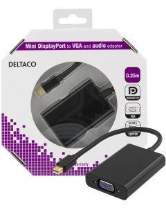 DELTACO mini DisplayPort till VGA-adapter med ljud, 0,25m, svart